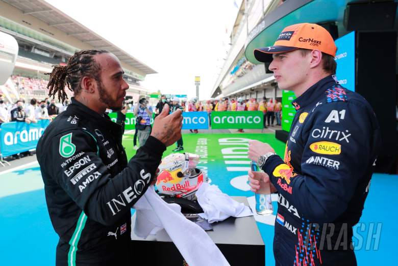 (L to R): Race winner Lewis Hamilton (GBR) Mercedes AMG F1 in parc ferme with second placed Max Verstappen (NLD) Red Bull Racing.