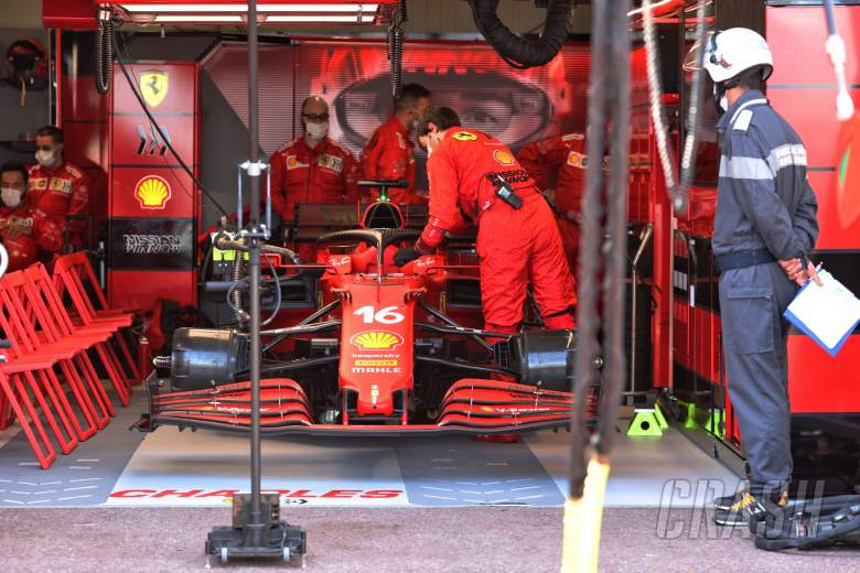 The Ferrari SF-21 of Charles Leclerc (MON) Ferrari, who isn't starting the race after crashing in qualifying.