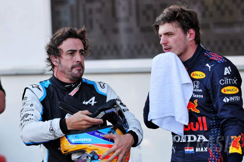 (L to R): Fernando Alonso (ESP) Alpine F1 Team with Max Verstappen (NLD) Red Bull Racing in qualifying parc ferme.
