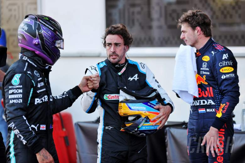 (L to R): Lewis Hamilton (GBR) Mercedes AMG F1 with Fernando Alonso (ESP) Alpine F1 Team and Max Verstappen (NLD) Red Bull Racing in qualifying parc ferme.