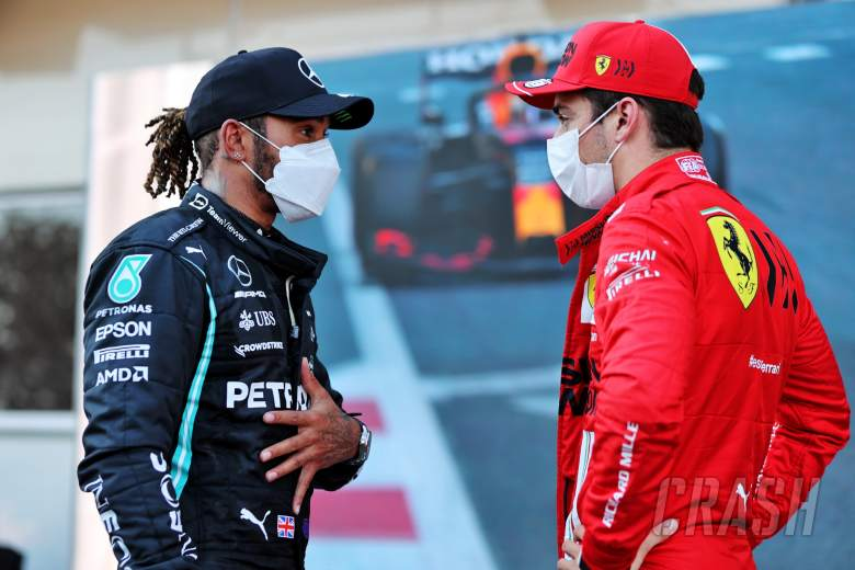 (L to R): Lewis Hamilton (GBR) Mercedes AMG F1 with Charles Leclerc (MON) Ferrari in qualifying parc ferme.