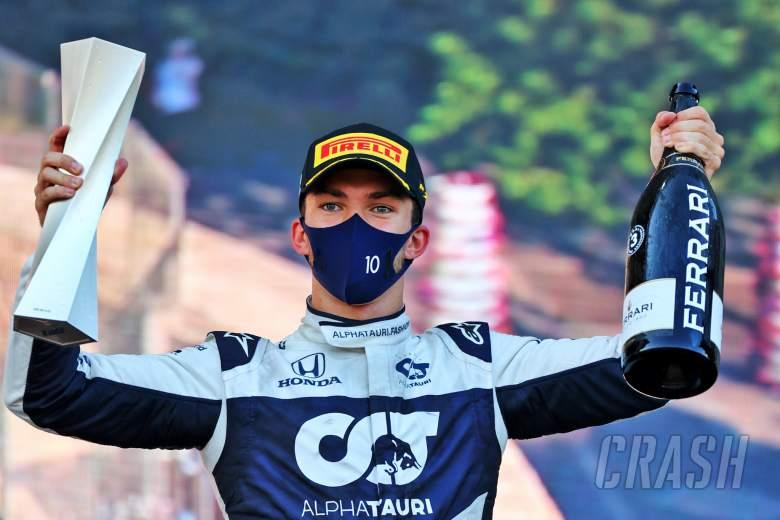 Pierre Gasly (FRA) AlphaTauri celebrates his third position on the podium.