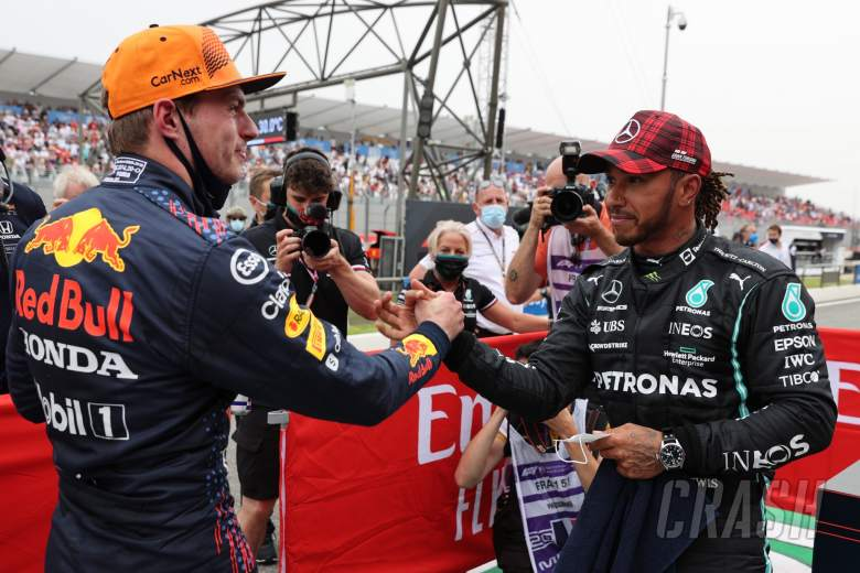 Pole for Max Verstappen (NLD) Red Bull Racing and 2nd for Lewis Hamilton (GBR) Mercedes AMG F1 W12.