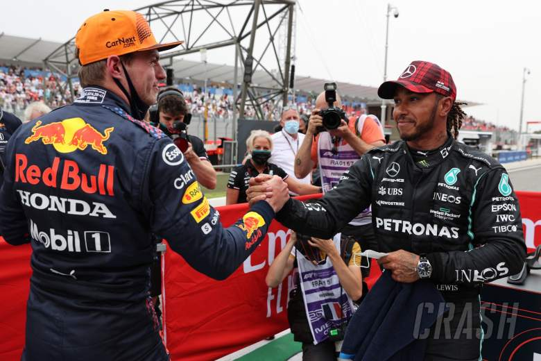 Pole for Max Verstappen (NLD) Red Bull Racing and 2nd for Lewis Hamilton (GBR) Mercedes AMG F1.
