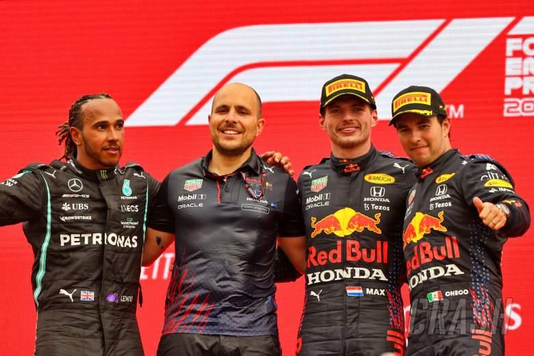The podium (L to R): Lewis Hamilton (GBR) Mercedes AMG F1, second; Gianpiero Lambiase (ITA) Red Bull Racing Engineer; Max Verstappen (NLD) Red Bull Racing, race winner; Sergio Perez (MEX) Red Bull Racing, third.
