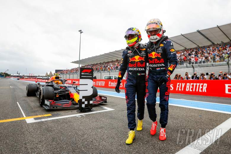 Race winner Max Verstappen (NLD) Red Bull Racing (Right) celebrates with third placed team mate Sergio Perez (MEX) Red Bull Racing in parc ferme.