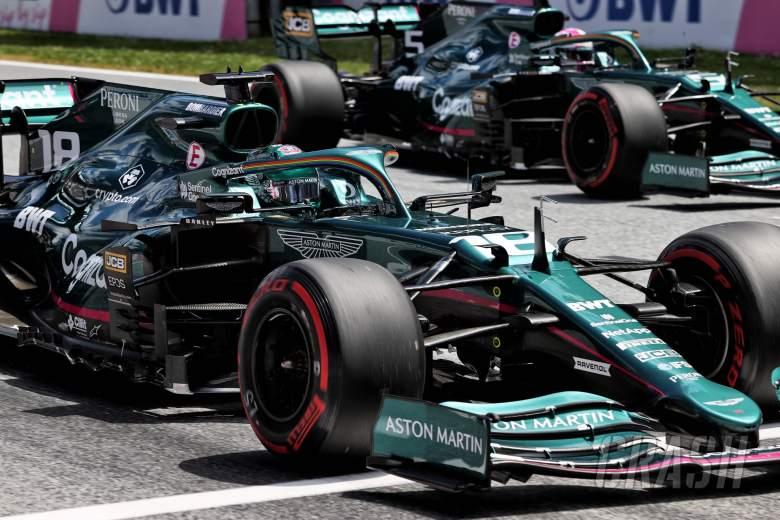 Lance Stroll (CDN) Aston Martin F1 Team AMR21 and Sebastian Vettel (GER) Aston Martin F1 Team AMR21 - practice starts.