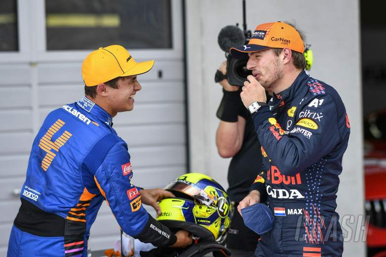 (L to R): Second placed Lando Norris (GBR) McLaren in qualifying parc ferme with pole sitter Max Verstappen (NLD) Red Bull Racing.