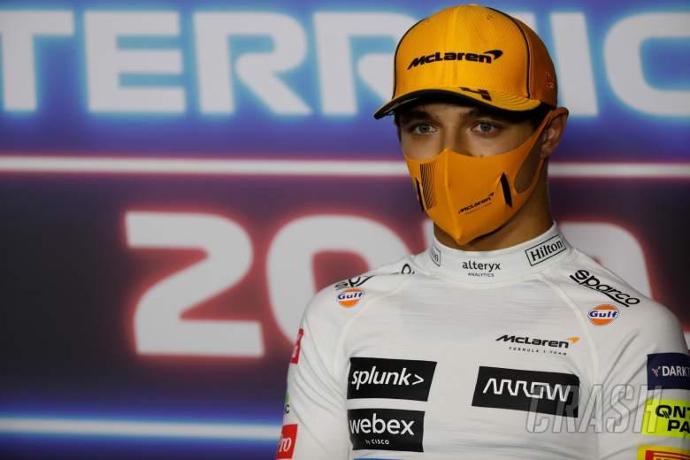 Lando Norris (GBR) McLaren in the post race FIA Press Conference.