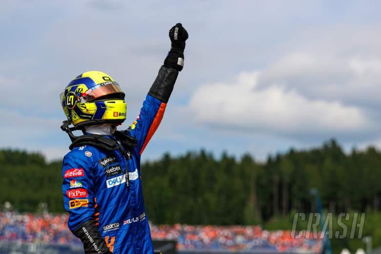 Lando Norris (GBR) McLaren celebrates his third position in parc ferme.