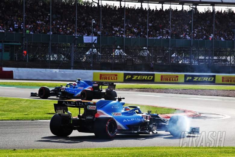 Fernando Alonso (ESP) Alpine F1 Team A521 follows team mate Esteban Ocon (FRA) Alpine F1 Team A521.
