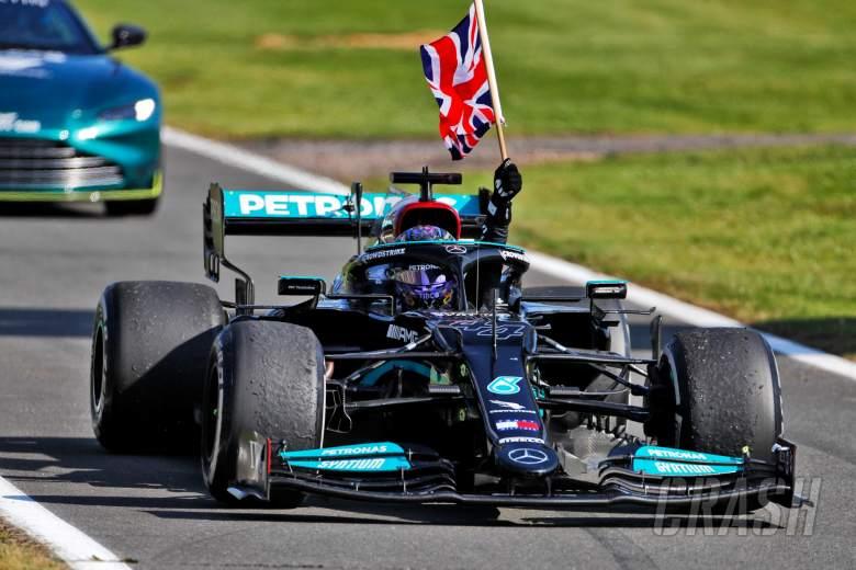 Race winner Lewis Hamilton (GBR) Mercedes AMG F1 W12 celebrates entering parc ferme.