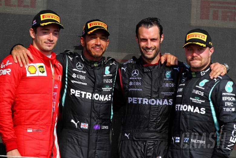 The podium (L to R): Charles Leclerc (MON) Ferrari, second; Lewis Hamilton (GBR) Mercedes AMG F1, race winner; Valtteri Bottas (FIN) Mercedes AMG F1, third.