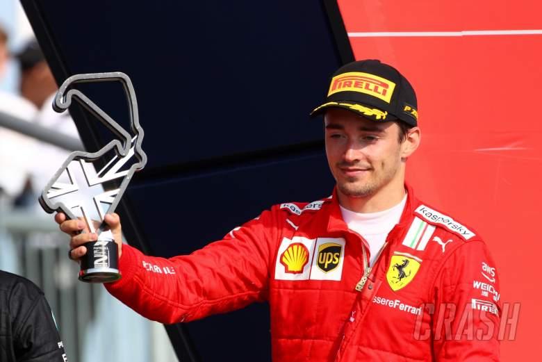 Charles Leclerc (MON) Ferrari celebrates his second position on the podium.
