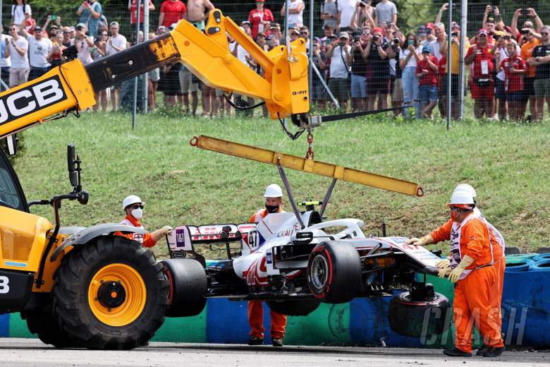 The Haas VF-21 of Mick Schumacher (GER) Haas F1 Team, who crashed in the second practice session.
