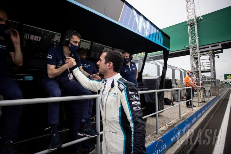 Nicholas Latifi (CDN) Williams Racing celebrates his eighth position with the team.