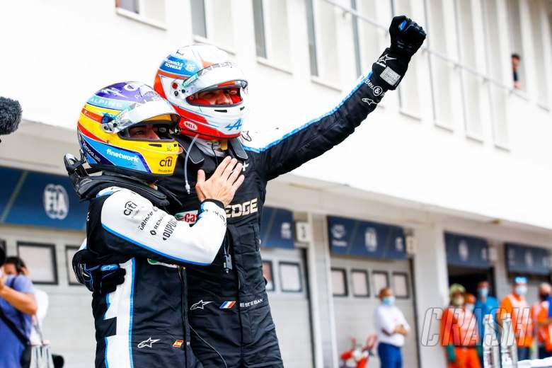 Race winner Esteban Ocon (FRA) Alpine F1 Team celebrates in parc ferme with team mate Fernando Alonso (ESP) Alpine F1 Team.