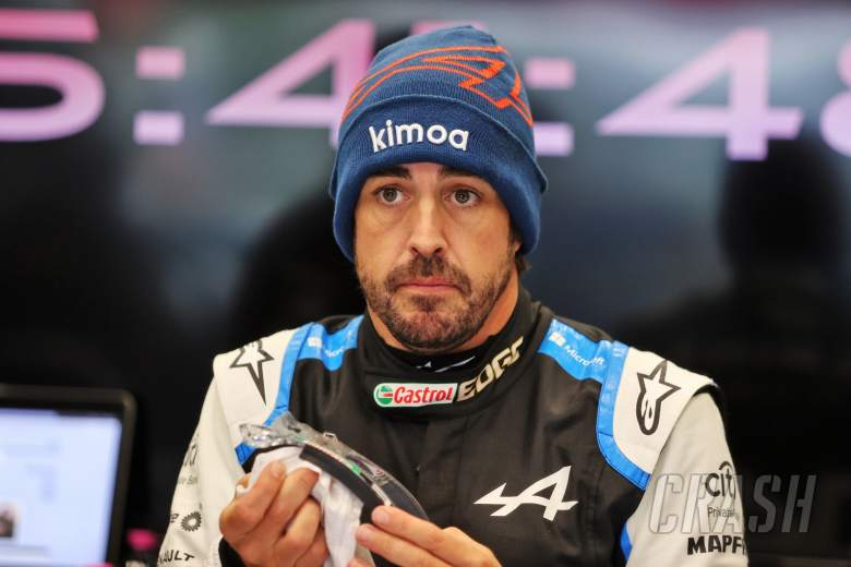 Fernando Alonso (ESP) Alpine F1 Team in the pits as the race is suspended.