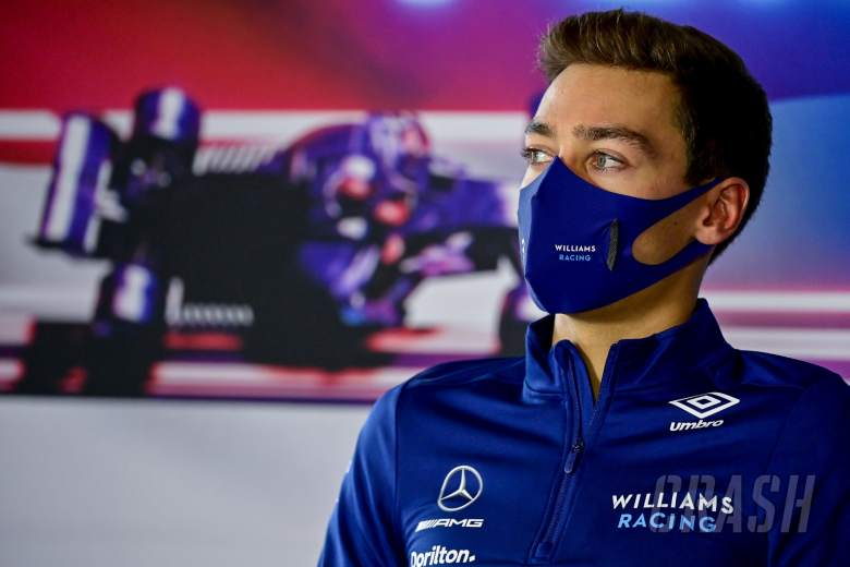 George Russell (GBR) Williams Racing in the FIA Press Conference.