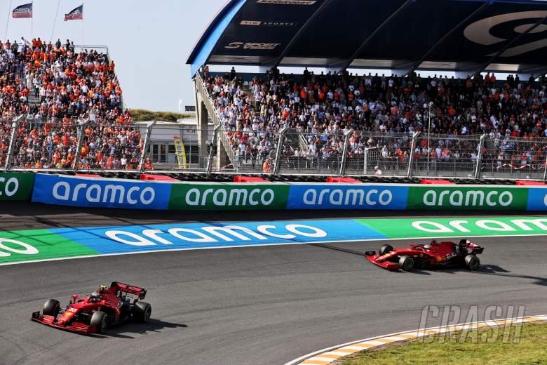 Carlos Sainz Jr (ESP) Ferrari SF-21 leads team mate Charles Leclerc (MON) Ferrari SF-21.