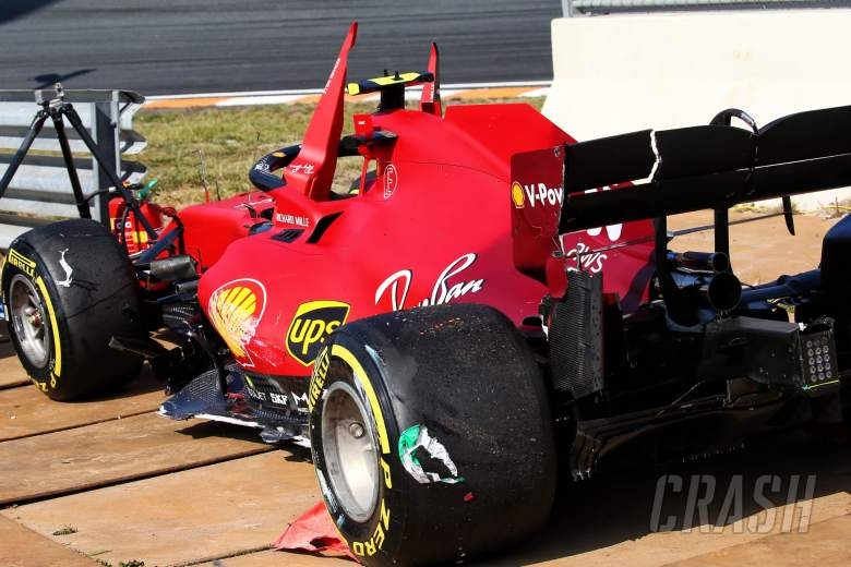 The damaged Ferrari SF-21 of Carlos Sainz Jr (ESP) Ferrari after he crashed in the third practice session.