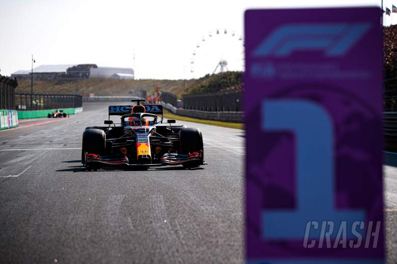 Pole sitter Max Verstappen (NLD) Red Bull Racing RB16B in qualifying parc ferme.