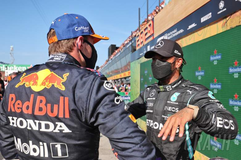 (L to R): Race winner Max Verstappen (NLD) Red Bull Racing with Lewis Hamilton (GBR) Mercedes AMG F1 in parc ferme.
