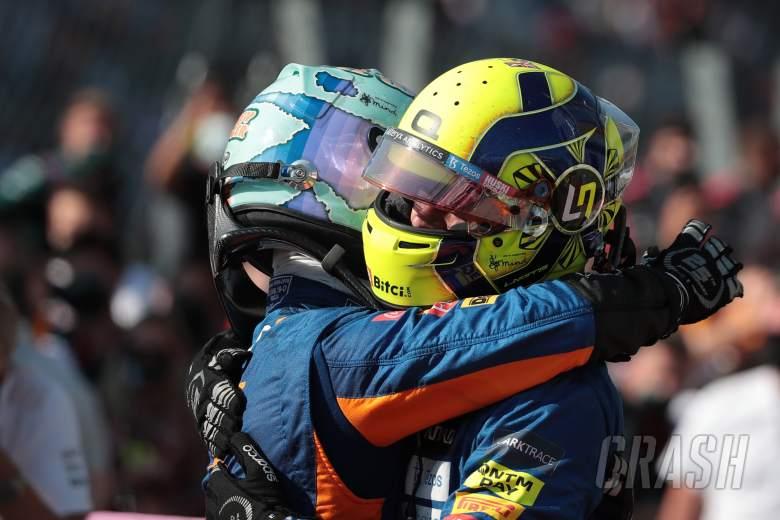 Daniel Ricciardo (AUS) McLaren MCL35M and Lando Norris (GBR) McLaren MCL35M.