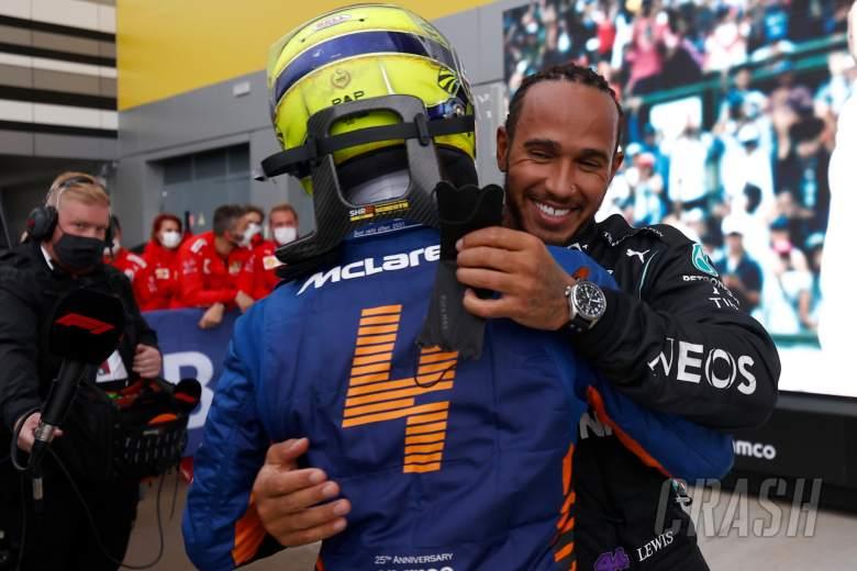 (L to R): Lando Norris (GBR) McLaren with race winner Lewis Hamilton (GBR) Mercedes AMG F1 in parc ferme.