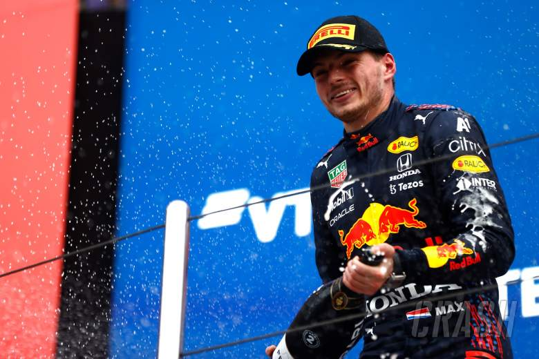 Max Verstappen (NLD) Red Bull Racing celebrates his second position on the podium.