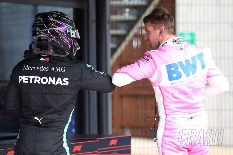 Lewis Hamilton (GBR) Mercedes AMG F1 W11 and Nico Hulkenberg (GER) Racing Point F1 Team RP20.