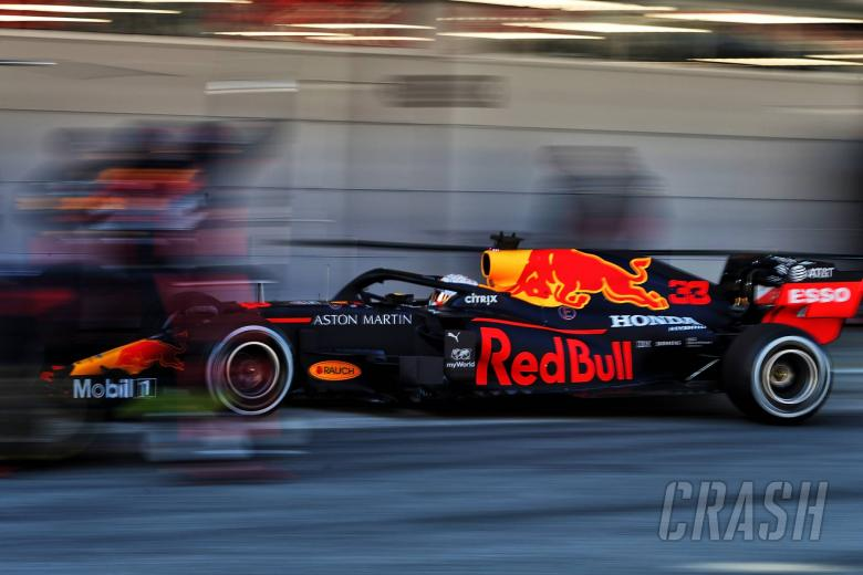Max Verstappen (NLD) Red Bull Racing RB16 practices a pit stop.