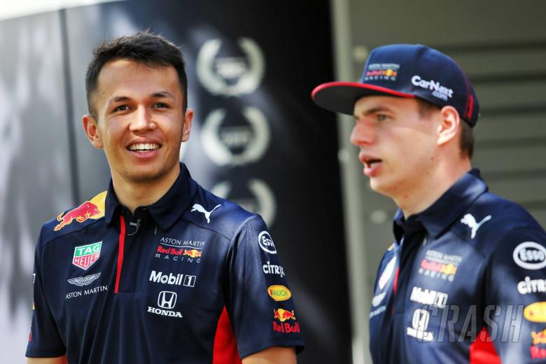 (L to R): Alexander Albon (THA) Red Bull Racing with team mate Max Verstappen (NLD) Red Bull Racing.