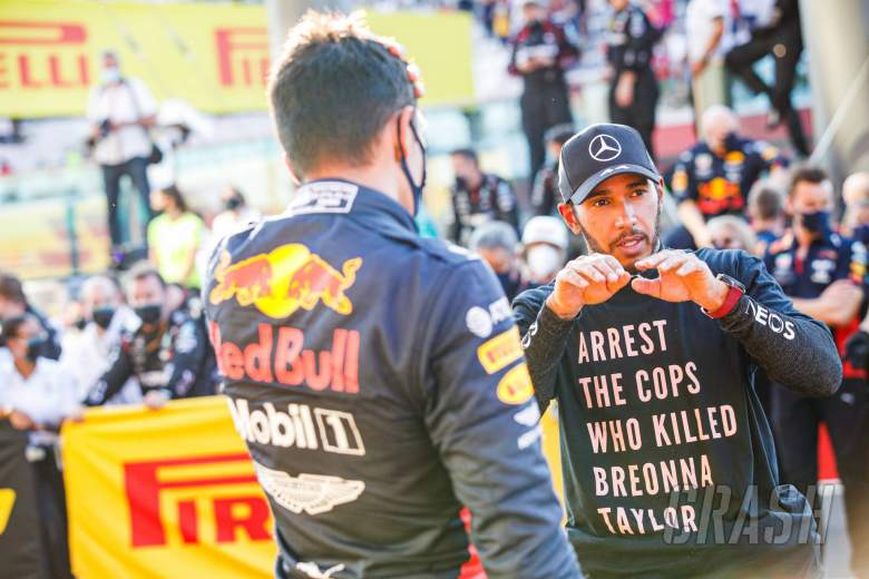 Race winner Lewis Hamilton (GBR) Mercedes AMG F1 in parc ferme with third placed Alexander Albon (THA) Red Bull Racing.