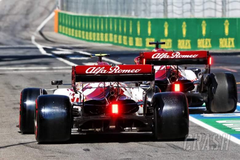 Antonio Giovinazzi (ITA) Alfa Romeo Racing C39 and Kimi Raikkonen (FIN) Alfa Romeo Racing C39.