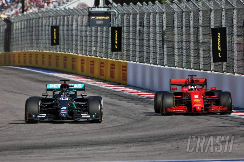 Lewis Hamilton (GBR) Mercedes AMG F1 W11 and Sebastian Vettel (GER) Ferrari SF1000.