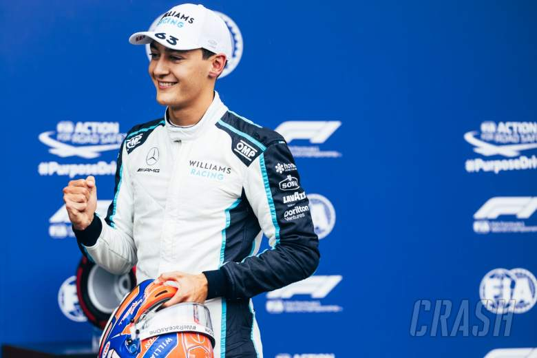 George Russell (GBR) Williams Racing celebrates his second position in qualifying parc ferme.