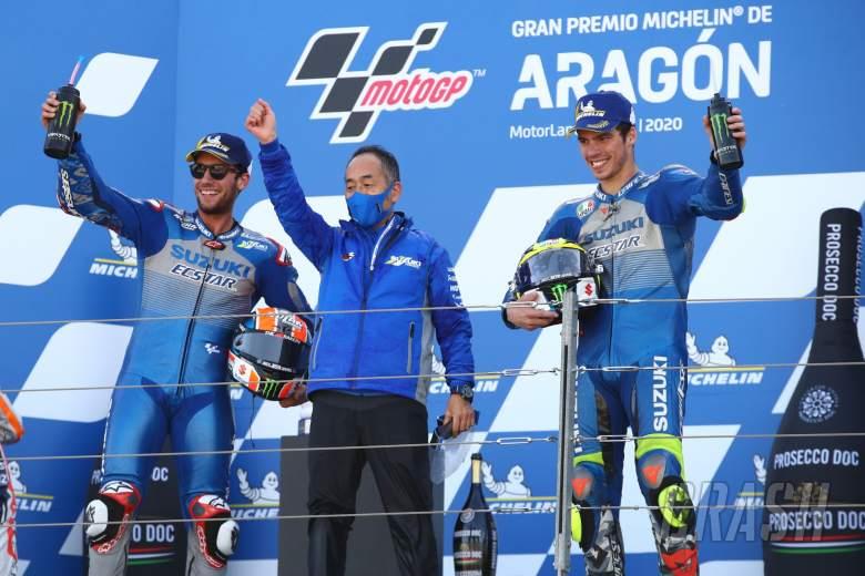 Alex Rins, Ken Kawauchi, Joan Mir, MotoGP race, Aragon MotoGP. 18 October 2020