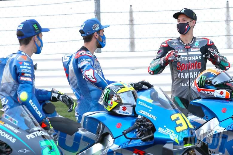 Joan Mir Alex Rins Fabio Quartararo , Portuguese MotoGP. 19 November 2020
