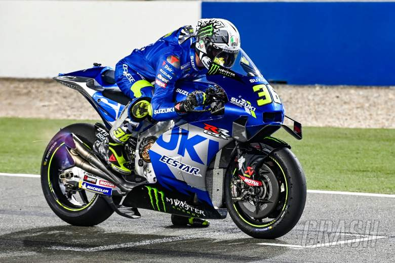 Joan Mir, practice start, flames, Qatar MotoGP test, 6 March 2021