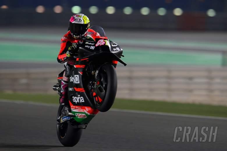 Aleix Espargaro wheelie, Qatar MotoGP test, 7 March 2021