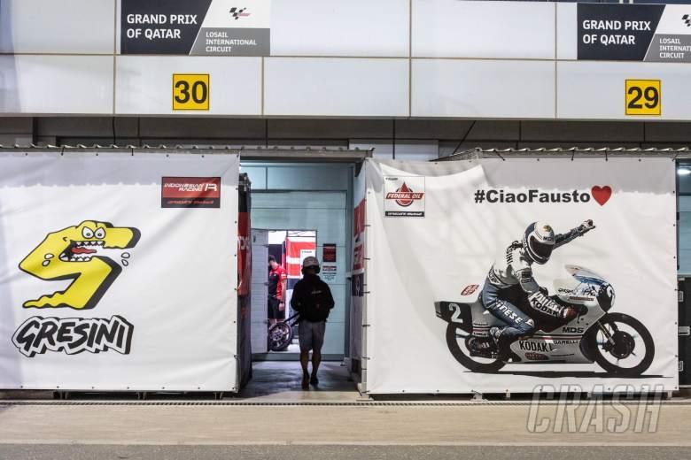 Fausto Gresini banner outside the pit box, MotoGP, Qatar MotoGP 26 March 2021