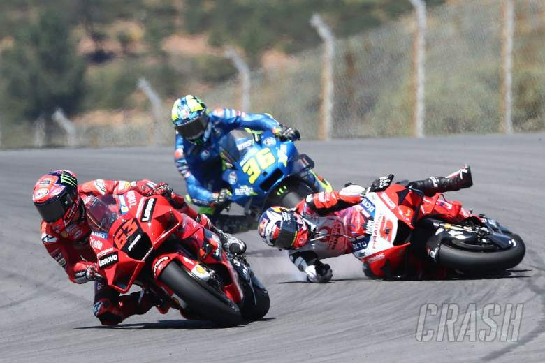 Johann Zarco crashed behind Francesco Bagnaia MotoGP race, Portuguese MotoGP. 18 April 2021