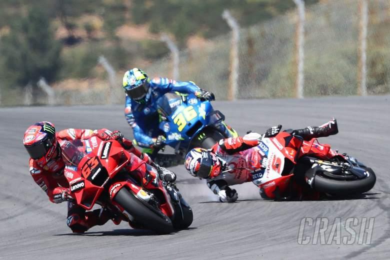 Johann Zarco crashed behind Francesco Bagnaia MotoGP race, Portuguese MotoGP. 18 April 2021