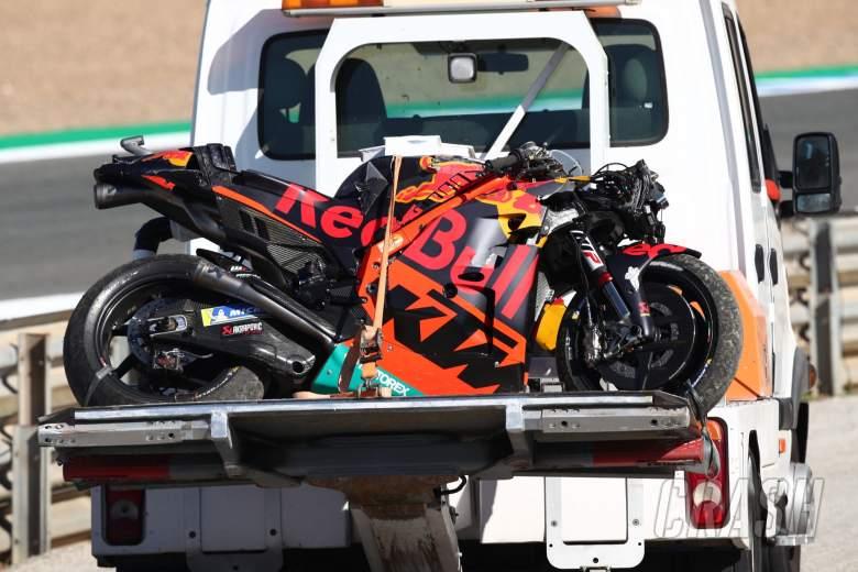 Brad Binder crashed bike, Spanish MotoGP, 1 May 2021