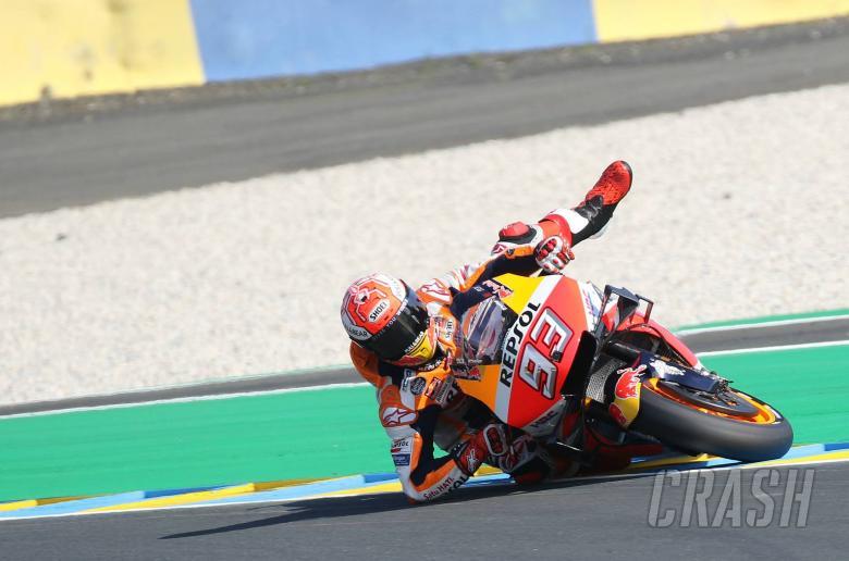 Marquez saving a crash, French MotoGP 2019