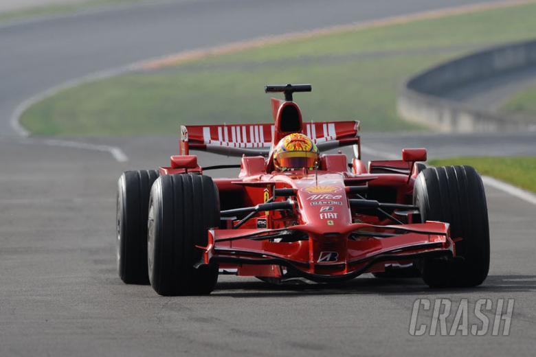 Rossi gathers speed on F1 return.