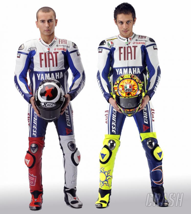 Valentino Rossi and Fiat Yamaha team-mate Jorge Lorenzo (pic: Yamaha).