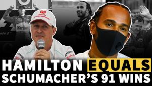 F1 VIDEO: Lewis Hamilton equals Michael Schumacher's wins record