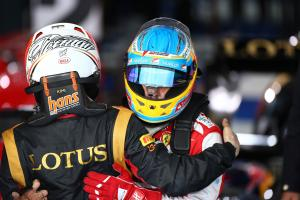 17.03.2013- Race, Kimi Raikkonen (FIN) Lotus F1 Team E21 race winner and Fernando Alonso (ESP) Scude